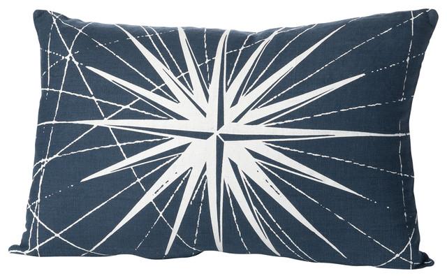 Montauk Compass Rose Small Pillow, Navy/White contemporary-decorative-pillows