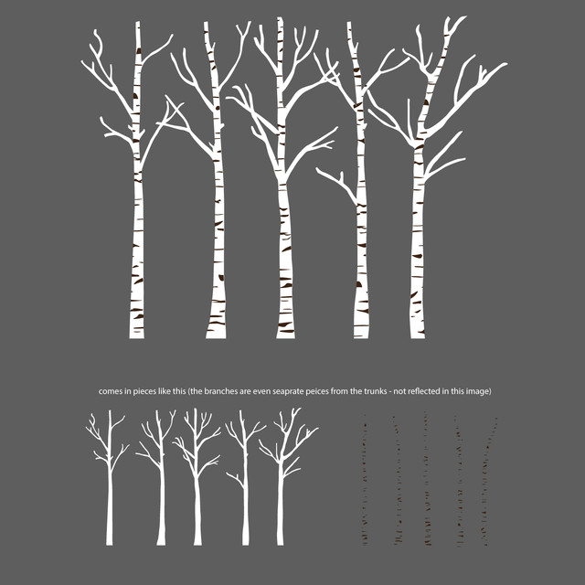 Birch Trees Silhouettes Forrest Wall Decal Modern Wall