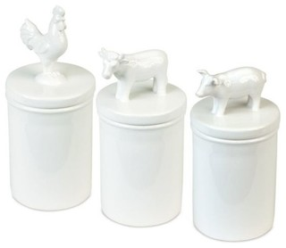 melrose white pig cow and rooster barnyard animal