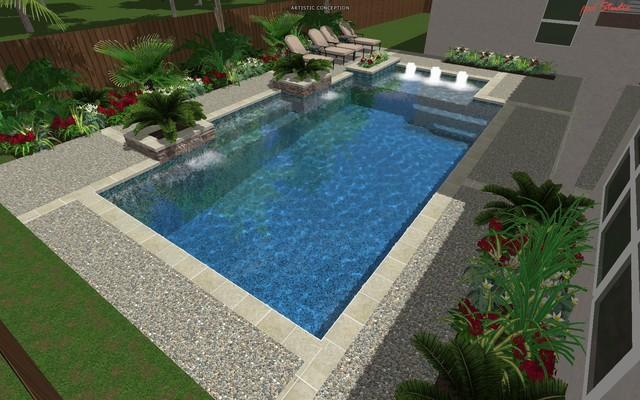 Cypress custom pools modern clean design w travertine for Houston pool design