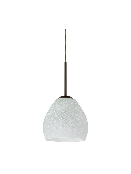 """Besa Lighting - Besa Lighting 1BC-412260 Bolla 1 Light Cord-Hung Mini Pendant - The Bolla is a compact handcrafted glass, softly radiused to fit gracefully into contemporary spaces. Our Cocoon glass is a frosted glass with interesting threads of opaque white swirling throughout. This decor is full of textured and creates a point of interest to any room. When lit this glass features a dimensional effect from the whites lines that are interlaced at various levels. The smooth satin finish on the clear outer layer is a result of an extensive etching process, with the texture of the subtle brushing. This blown glass is handcrafted by a skilled artisan, utilizing century-old techniques passed down from generation to generation. Each piece of this decor has its own artistic nature that can be individually appreciated The cord pendant fixture is equipped with a 10' SVT cordset and an """"Easy Install"""" dome monopoint canopy.Features:"""