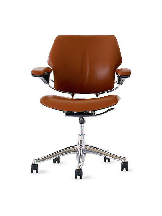 Freedom Task Chair, Prima Leather, Bernini - A good chair for my home office is going to be my next buy. It's so important because this is where I spend most of the day. I love the design of this one. The leather is gorgeous, and it does not have a headrest — I don't find them comfortable or pretty.