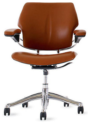 Freedom task chair prima leather bernini modern for Modern leather office chairs