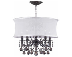 Transitional Pewter Crystal Chandelier with White Silk Drum Shade traditional chandeliers
