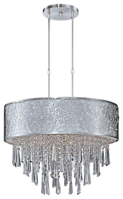"Crystal Maxim Rapture 21"" Wide White and Satin Nickel Pendant Light contemporary-chandeliers"