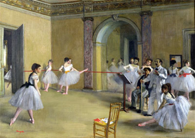 Dance Class at the Opera on Le Peletier Str. | Degas | Canvas Print by TOPofART prints-and-posters