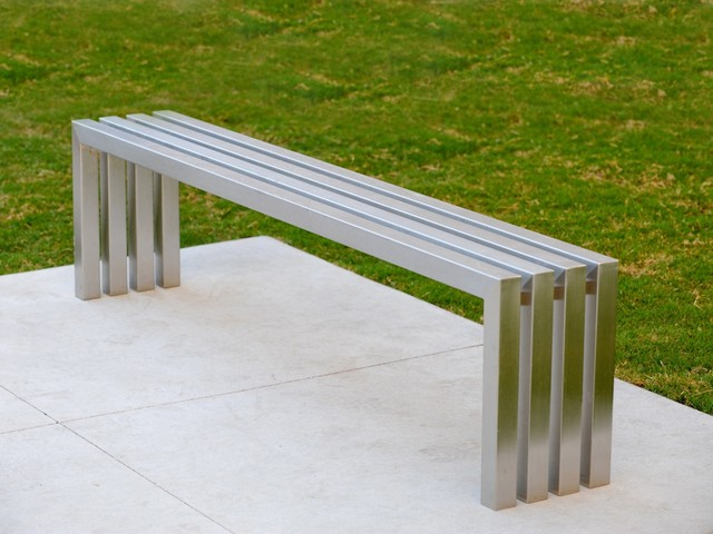 Linear Stainless Steel Bench Sarabi Studio Austin Tx Modern Outdoor Benches Austin By