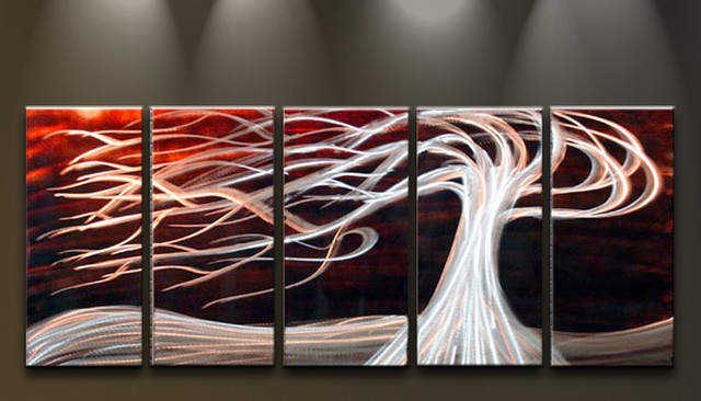 Red Metal Wall Decor: Metal Wall Art Abstract Modern Sculpture White Tree On Red