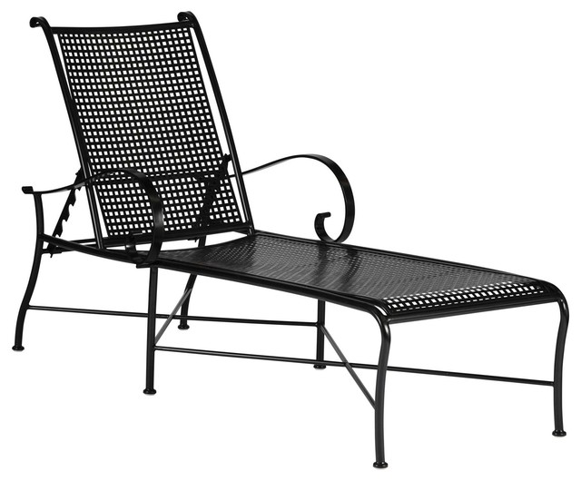 Black metal chaise lounge chair shop oakland living for Black wrought iron chaise lounge