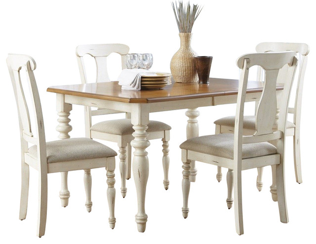 Liberty furniture ocean isle 5 piece 72x38 dining room set for Light wood dining room sets