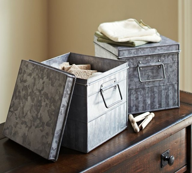 galvanized metal bin traditional storage bins and boxes by pottery barn. Black Bedroom Furniture Sets. Home Design Ideas
