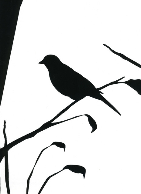 Cavern Home Blackbird Wallpaper White modern-wallpaper
