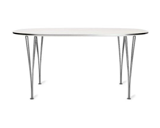 """Republic of Fritz Hansen - Super Elliptical Extension Table - Essentially a merging of an oval and rectangle, Danish poet/mathematician Piet Hein initially defined the """"super ellipse"""" shape as a solution to an urban planning problem in Sweden. The year was 1959 and a new motorway was replacing Stockholm's Sergel's Square. Improving the efficiency of traffic through the area was crucial and Hein's newly defined shape satisfied this need. Hein soon came to believe that the super ellipse was the most visually pleasing shape for any number of applications, including sports arenas, swimming pools and, of course, dining tables. Hein first collaborated with designer Bruno Mathsson on a line of super elliptical desks; their Super Elliptical Tables were designed for Fritz Hansen in 1968. Fritz Hansen introduced this extension version in 1988. Seating 12 people max (though it's possible to squeeze a few more in at the gently rounded """"corners""""), the table comes with two self-storing extension leaves. With a lighter profile than most extension tables, the Super Elliptical has polished chrome legs that support an easily cleaned white laminate top. With both leaves inserted, a subtle bowing occurs in the center of the table – this is not a defect. Full expansion is intended for special occasions; use one or no leaves for daily use. Original design and licensed manufacture by Republic of Fritz Hansen."""