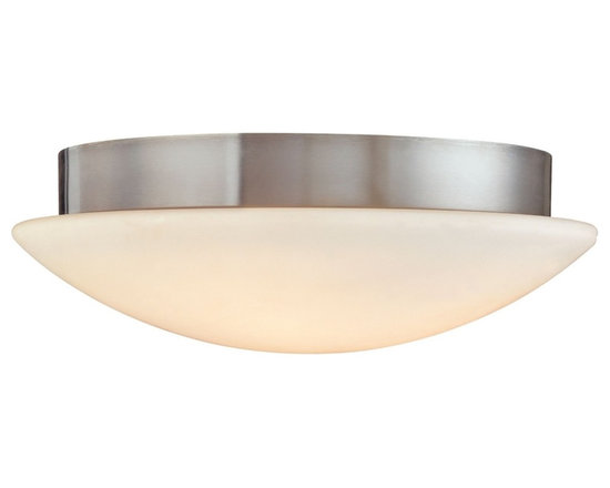 """Sonneman - Sonneman Moderno Mushroom 15 1/2"""" Ceiling Light Fixture - A mushroom of light is all we see from below. From the side we have a band of low key metallic detail. By Sonneman. Satin nickel finish. White opal frosted glass. Takes two 60 watt medium base bulbs (not included). 5"""" high. 15 1/2"""" diameter. Shade is 3"""" high 15 1/2"""" diameter. Canopy has 13"""" diameter.  Satin nickel finish.   White opal frosted glass.  Takes two 60 watt medium base bulbs (not included).  5"""" high.  15 1/2"""" diameter.  Canopy has 13"""" diameter."""
