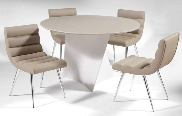 Round Leather Breakfast Table Sets And Chairs Modern Dining Tables