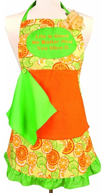 Vintage Style Word Apron, Life is Good contemporary-aprons