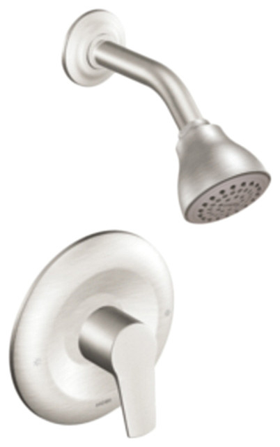 Moen T2802BN Brushed Nickel Shower Valve Trim, 1-Handle 1-Function Cartridge contemporary-showerheads-and-body-sprays
