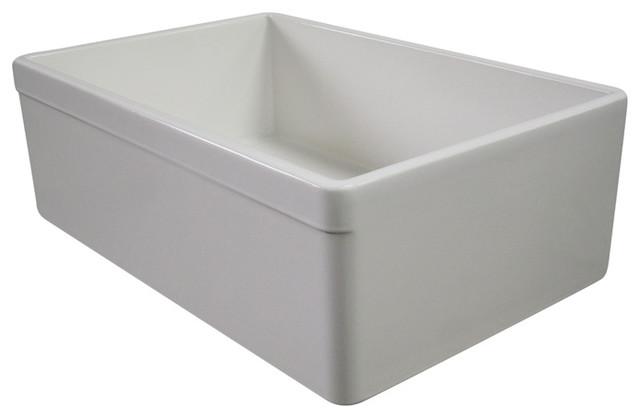 "Biscuit 30"" Decorative Lip Single Bowl Fireclay Farmhouse Kitchen Sink traditional-kitchen-sinks"