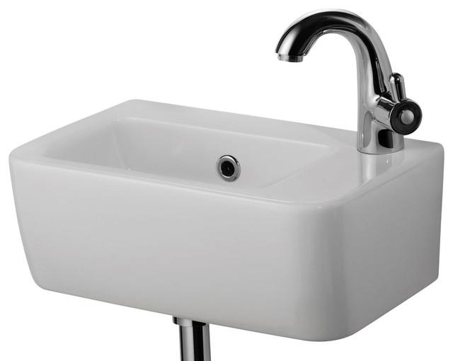Small White Wall Mounted Ceramic Bathroom Sink modern bathroom sinks