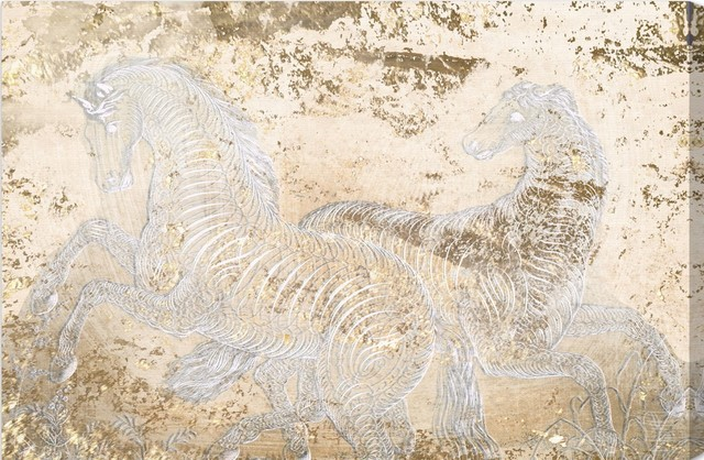 """Gold Equestrian"" 24""x16"" Canvas Art contemporary-artwork"