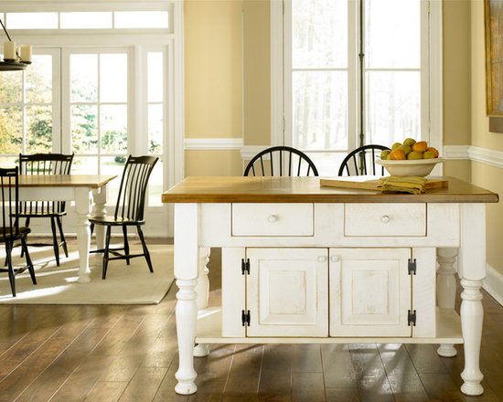 """Islands - 5'x42"""" Island with cabinet & drawers; Pine top & Bright white base, 4 1/4"""" turned legs 36"""" tall"""