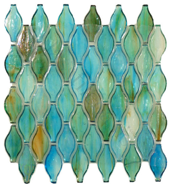 """... Turquoise Unique Shapes Green 1 3/8"""" x 3"""" Glossy Glass - Modern - Tile"""
