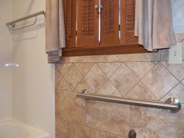 Decorative Grab Bars Actually Add Warmth to this Bathroom contemporary-grab-bars