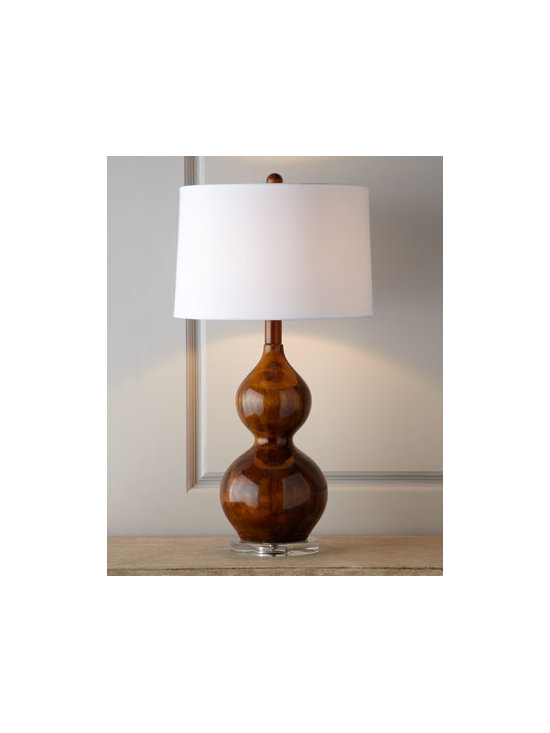 Horchow - Palisades Lamp - Artisan crafted of plantation-grown acacia wood, this glamorous, shapely, gourd lamp features a beautiful high-gloss sheen over the stained wood finish and a clear optic-crystal foot for dramatic impact. Handcrafted of solid acacia wood. Silk hardback...