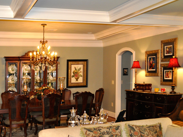 Updated interior living room dining room kitchen with for Update traditional dining room