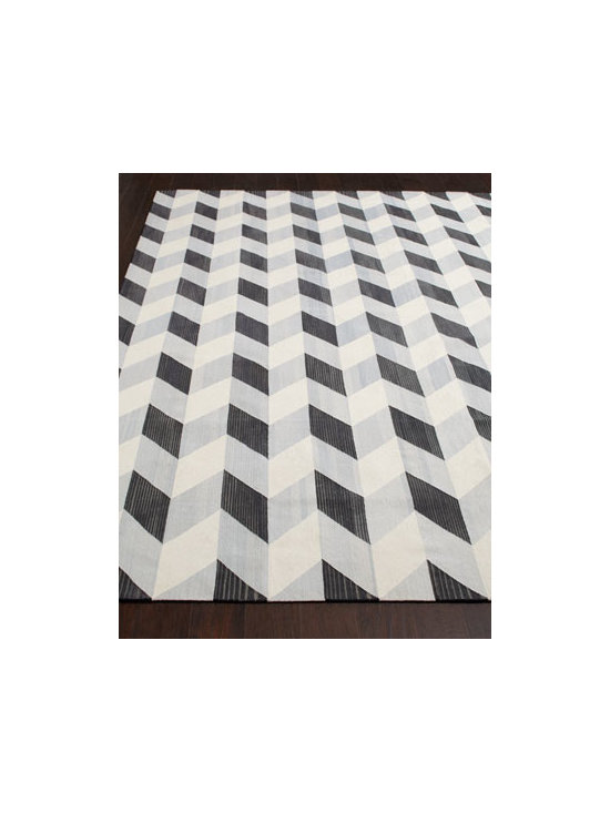 "Horchow - ""Java Herringbone"" Flatweave Rug - With its fashionable herringbone pattern, this mesmerizing flatweave rug adds contemporary flair to room settings. Hand knotted of India cotton. Sizes are approximate. Imported. See our Rug Guide for tips on how to measure for a rug, choosing w..."