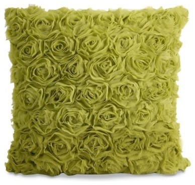 Vera Green Rose Pillow modern-decorative-pillows
