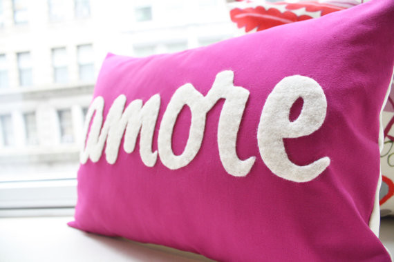 Custom Amore Pillow Italian Love by Honey Pie Design modern-decorative-pillows