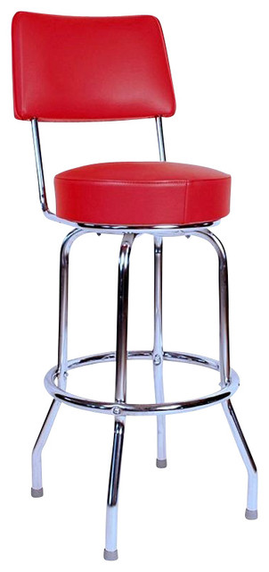 Richardson Seating Retro 1950s Swivel Bar Stool With Red