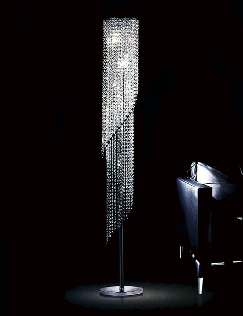 Modern K9 Spring Crystal Floor Lamp Contemporary Floor