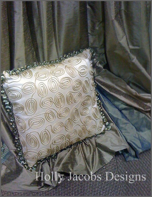 Inset drapery panels and pillow contemporary