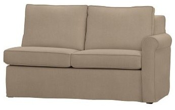 Cameron Roll Arm Right Arm Love Seat Sectional Slipcover, Washed Grainsack Walnu traditional-living-room-chairs