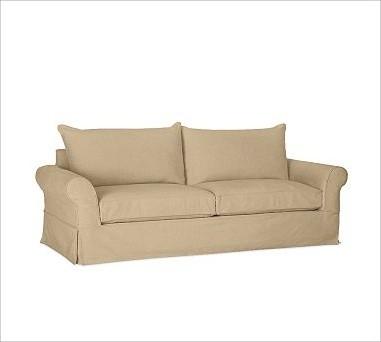 PB Comfort Roll-Arm Slipcovered Grand Sofa, Down-Blend Wrap Cushions, Textured B traditional-sofas
