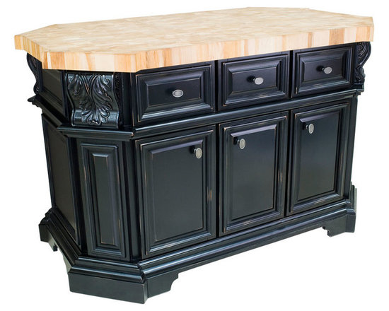 """Inviting Home - Dallas Kitchen Island (distressed black) - Dallas kitchen island cabinet in antique black finish; 57-11/16"""" x 33-15/16"""" x 34-1/8""""; 2-3/8"""" hard maple butcher block top (06) sold separately; The kitchen island features three working drawers and cabinets on one side and three false drawers above additional cabinet storage and a removable wine rack on the reverse side. Each cabinet contains an adjustable shelf. The drawers are dovetailed solid hardwood and are mounted on full extension soft-close under-mount slides. The included decorative hardware. Distressed Black finish is applied by hand. Hard maple butcher block top (06) sold separately."""