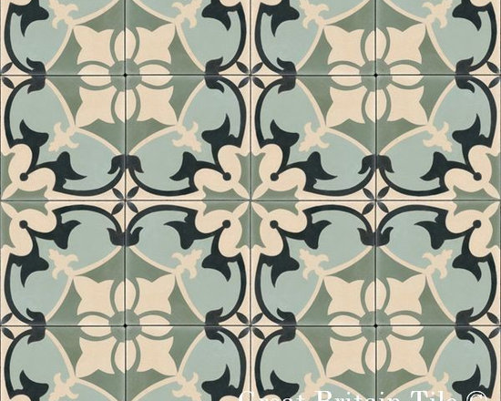 Cement Tile - Patterns - In stock cement tile - Sofia pattern - Green Forest, Black, Sage, Cafe - 8x8