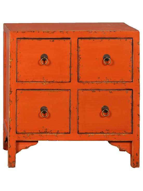 Antique Revival - Orange Nara 4-Drawer Accent Cabinet - This four-drawer cabinet's square, geometric lines and patterns add a clean, fresh touch to any bedroom, living room or hallway. It makes a great accent piece, and also works functionally for storage space. The round, iron hardware rings used as handles on each drawer, and the natural wood peaking through on the cabinet's edges, add just the right details. Item is newly made.