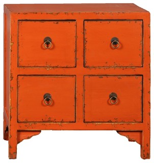 Orange Nara 4-Drawer Accent Cabinet - Asian - Accent Chests And Cabinets - by Antique Revival