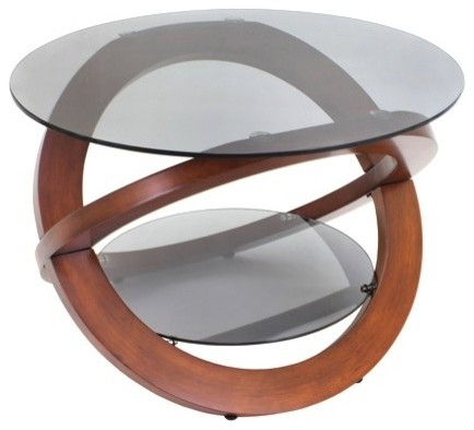 Modern Oval Glass Coffee Table With Walnut Base Universe Modern Coffee