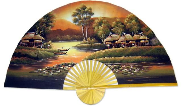 """Golden Village, 40"""" Width Oriental Wall Fan asian-home-decor"""