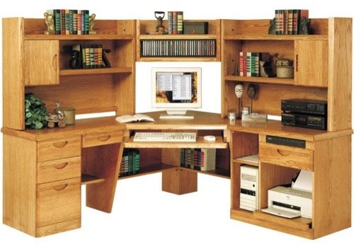 Martin Waterfall Corner Computer Desk with Optional Hutch traditional ...