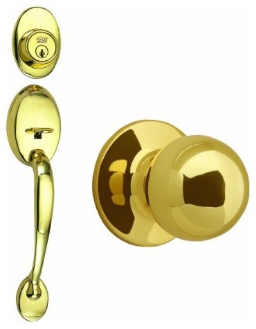 Coventry 2-Way Latch Entry Handle Set with Round Knob, Keyway and Door Handle modern-knobs