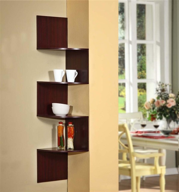 Modern staggering corner bookshelf in cherry for Modern corner bookshelf