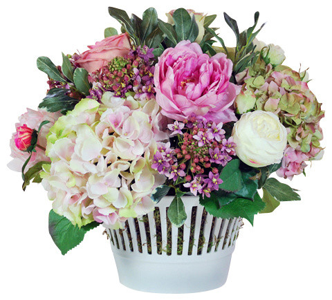 Mixed Floral Centerpiece in Vermeil Cachepot traditional-artificial-flowers