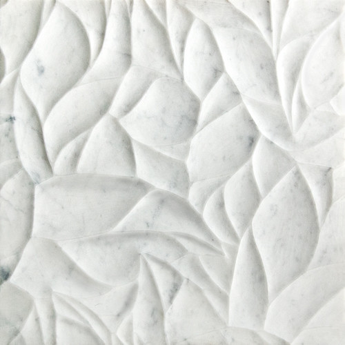 Ziva Bianco Carrara Marble Leaves Honed And Polished Dimensional Field Tile contemporary bathroom tile
