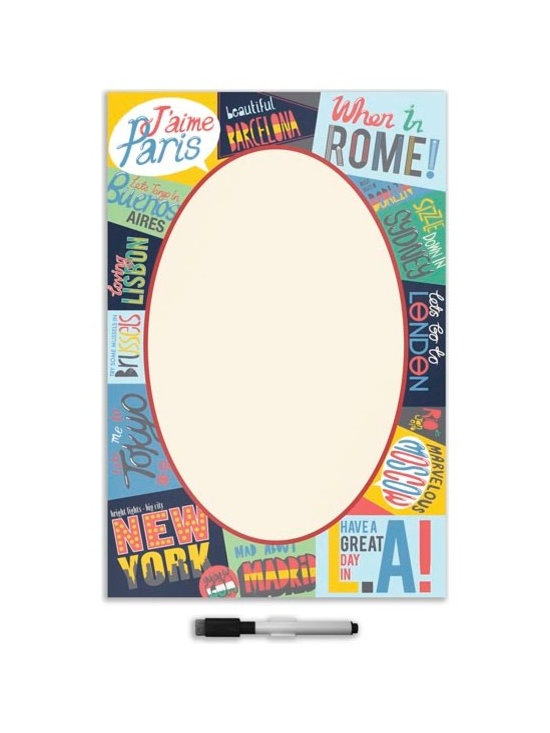"""Brewster Home Fashions - Passport Giant Novelty Dry Erase Decal - Add some well travelled flair to any space with this colorful dry-erase message board. Featuring fun slogans from world famous cities around the globe this decal is a fun way to keep track of lists and leave each other notes.  Passport dry-erase Leave a board is 26"""" x 39"""" and comes with a dry erase marker."""