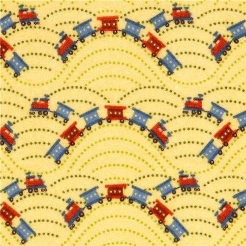 Yellow riley blake flannel fabric train locomotive usa for Train print fabric